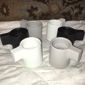 Other - Set of 6 gray black white taper candle holders new